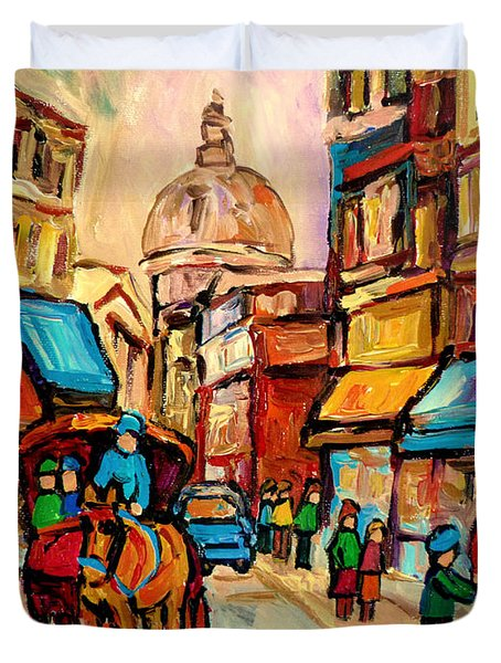 Rue St. Paul Old Montreal Streetscene Duvet Cover by Carole Spandau