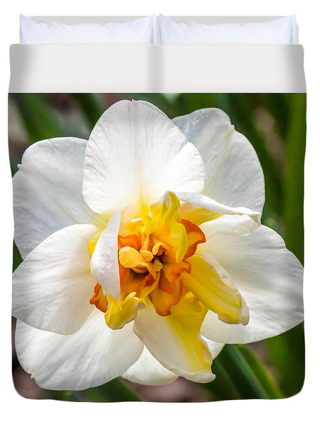 Duvet Cover featuring the photograph Ruffled Daffodil by Cathy Donohoue