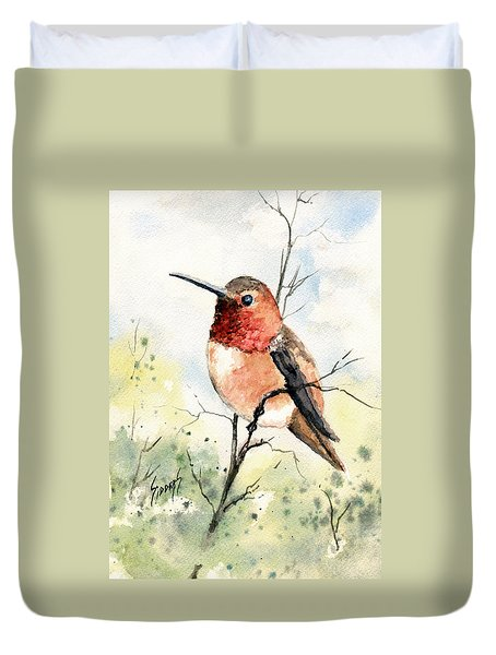 Rufous Hummingbird Duvet Cover by Sam Sidders