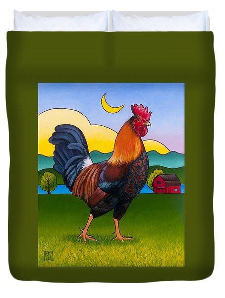 Rufus The Rooster Duvet Cover by Stacey Neumiller