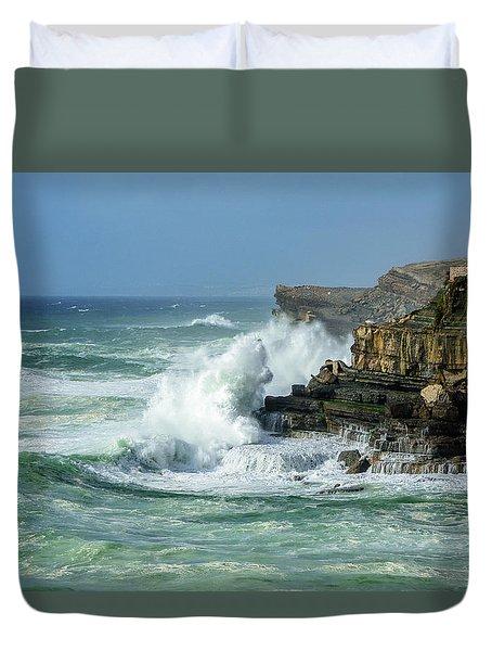 Rugged Coastal Seascape Duvet Cover