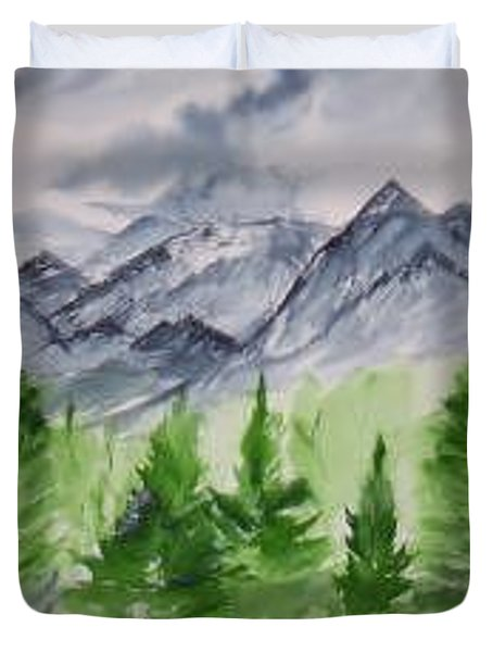 Ruidoso Nm Southwestern Mountain Landscape Watercolor Painting Poster Print Duvet Cover by Derek Mccrea