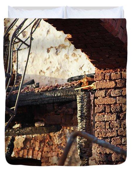 Ruin After Big Fire  Duvet Cover