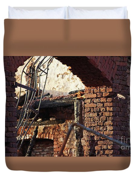 Ruin After Big Fire  Duvet Cover