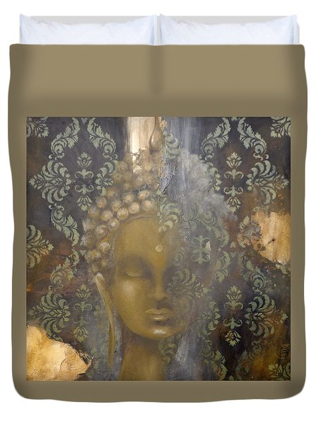 Duvet Cover featuring the painting Ruined Palace Buddha by Dina Dargo