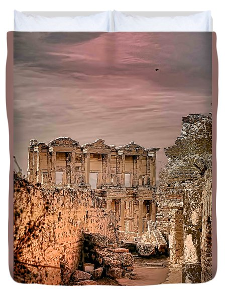 Ruins Of Ephesus Duvet Cover by Tom Prendergast