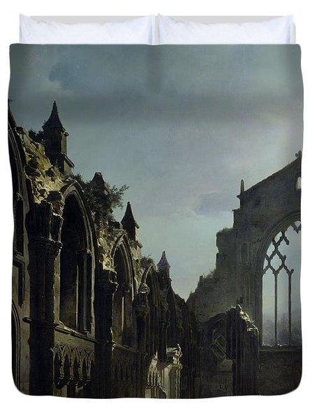 Ruins Of Holyrood Chapel Duvet Cover by Louis Jacques Mande Daguerre