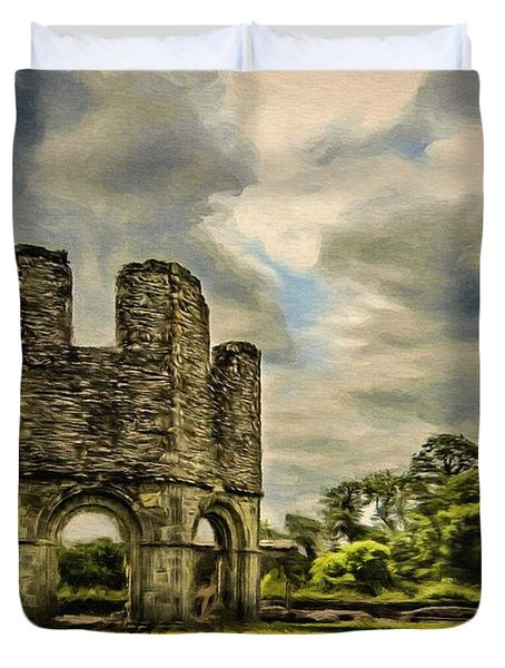 Duvet Cover featuring the painting Ruins Of Mellifont Abbey by Jeff Kolker