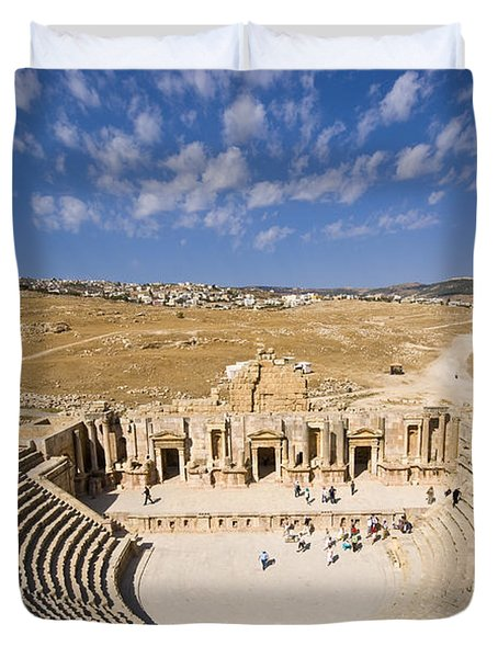 Ruins Of The Famous Archaeological City Of Jerash In Jordan Duvet Cover