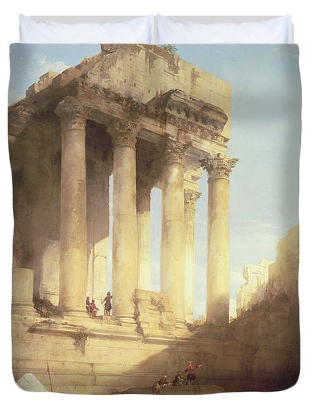 Ruins Of The Temple Of Bacchus Duvet Cover by David Roberts