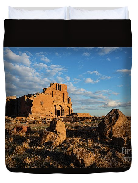 Ruins Of Yereruyk Temple Under Amazing Cloudscape, Armenia Duvet Cover by Gurgen Bakhshetsyan