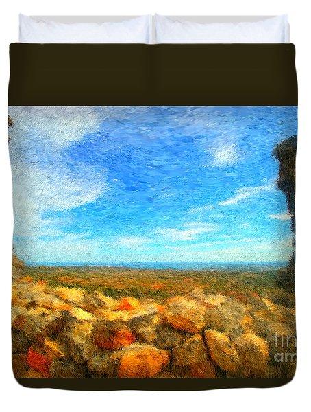 Ruins View Of Mediterranean Duvet Cover