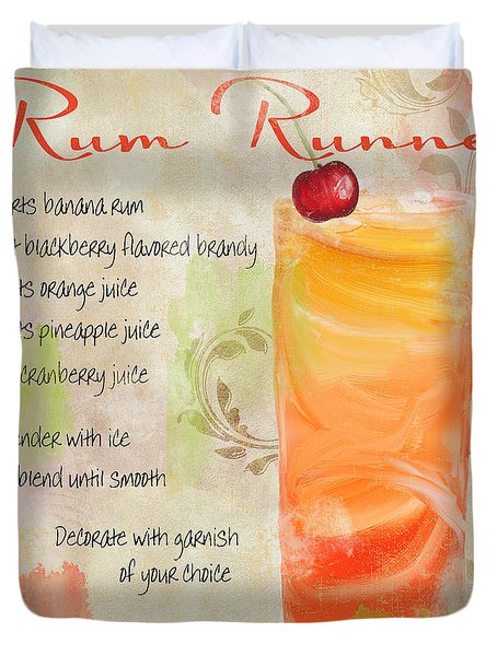 Rum Runner Mixed Cocktail Recipe Sign Duvet Cover by Mindy Sommers