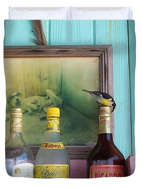 Duvet Cover featuring the photograph Rum Shack Bananaquit by Mary-Lee Sanders