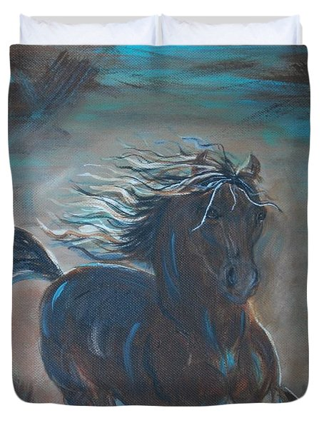Duvet Cover featuring the painting Run Horse Run by Leslie Allen