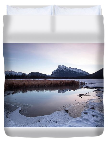 Rundle Mountain Reflections Duvet Cover