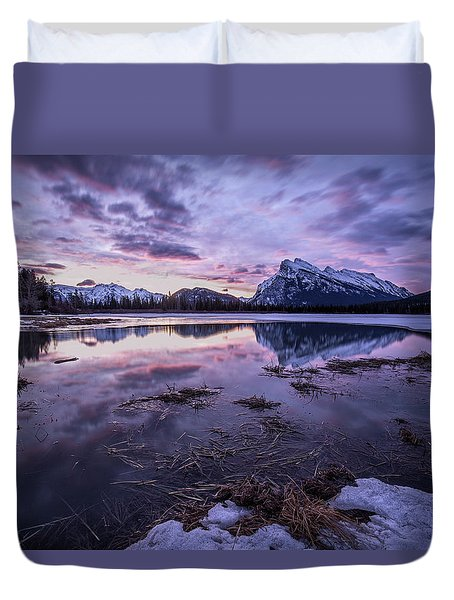 Rundle Mountain Skies Duvet Cover
