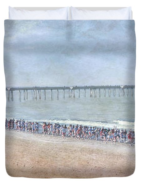 Duvet Cover featuring the photograph Runners On The Beach Panorama by David Zanzinger