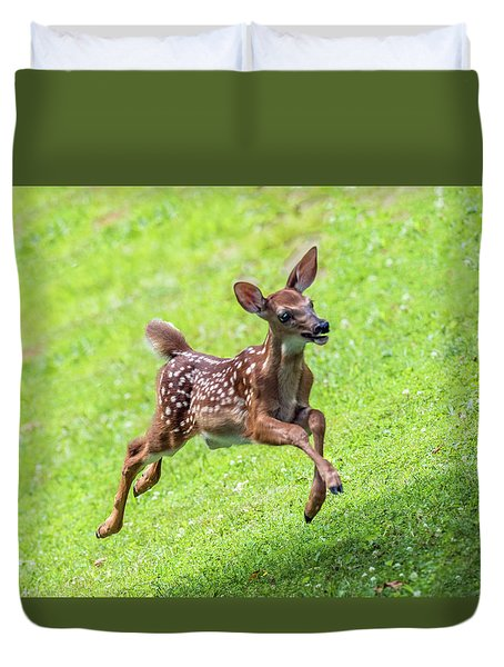 Running And Jumping Duvet Cover