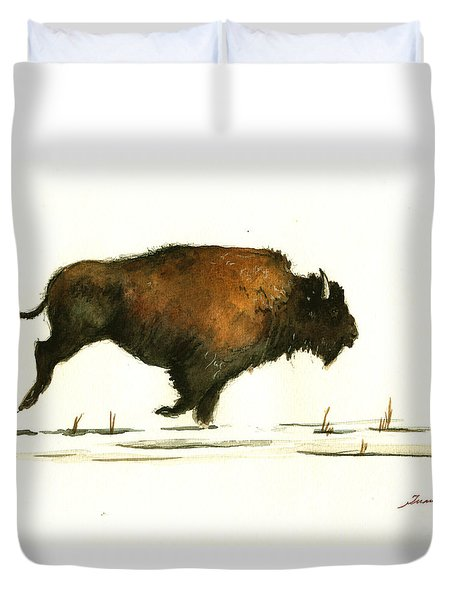 Running Buffalo Duvet Cover by Juan  Bosco