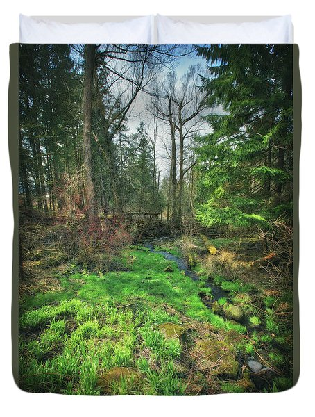 Running Creek In Woods - Spring At Retzer Nature Center Duvet Cover by Jennifer Rondinelli Reilly - Fine Art Photography