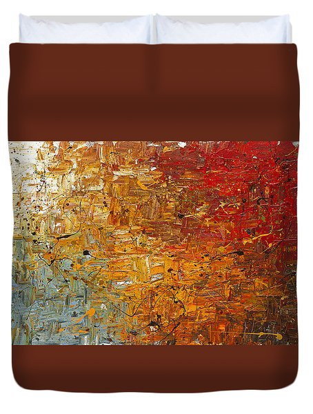 Duvet Cover featuring the painting Running Free - Abstract Art by Carmen Guedez