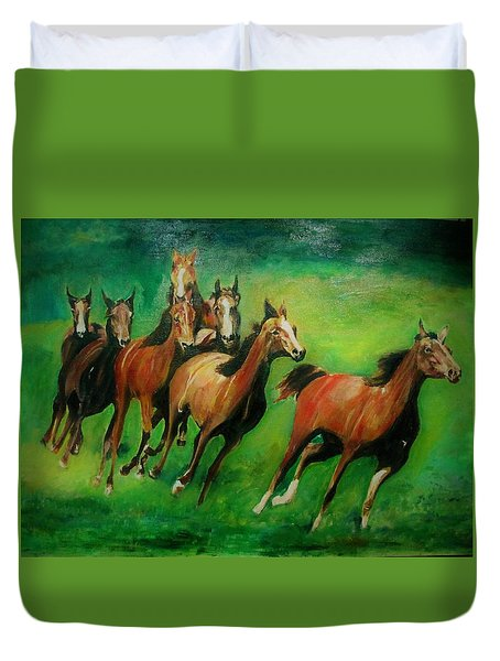 Running Free Duvet Cover by Khalid Saeed