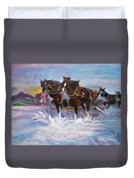 Running Horses- Beach Gallop Duvet Cover