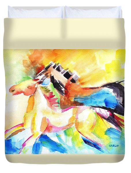 Running Horses Color Duvet Cover by Carlin Blahnik