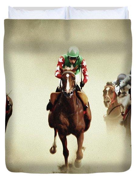 Running Horses In Dust Duvet Cover