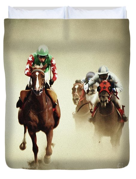 Running Horses In Dust Duvet Cover