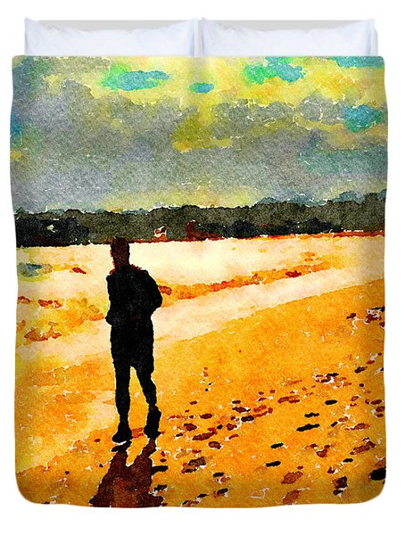Duvet Cover featuring the painting Running In The Golden Light by Angela Treat Lyon