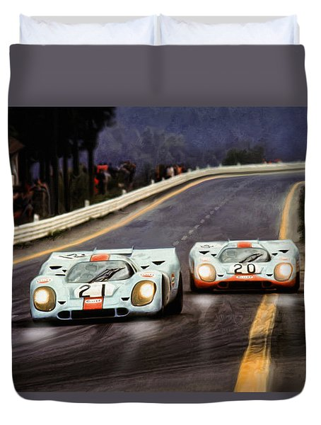 Running One Two Duvet Cover by Peter Chilelli