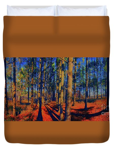 Running, Path, Pine, Grove, Crystal, Lake, Illinois, Parks, Panorama Duvet Cover