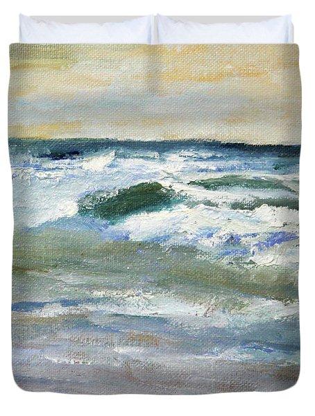 Running The Beach Duvet Cover