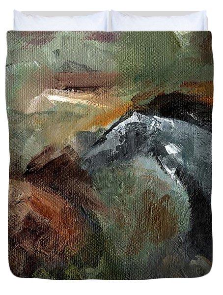 Running Through  Sage Duvet Cover by Frances Marino
