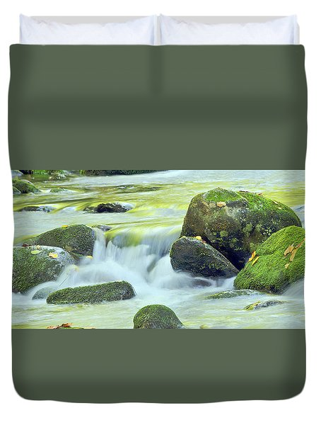 Duvet Cover featuring the photograph Running Water by Wanda Krack