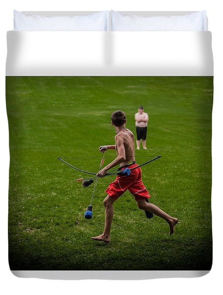 Running With Arrows Duvet Cover by Ray Congrove