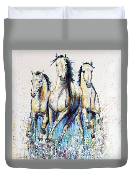 Running With The Herd Horse Painting Duvet Cover