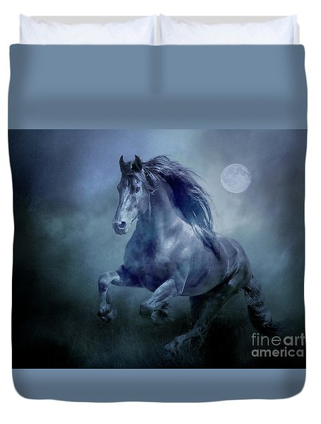Running With The Moon Duvet Cover
