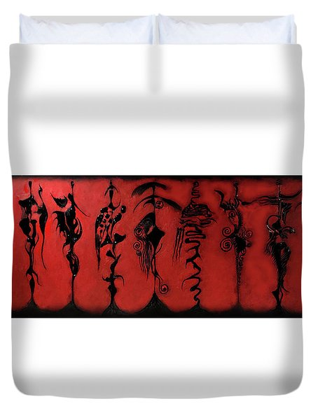 Duvet Cover featuring the painting Runway by James Lanigan Thompson MFA