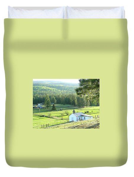 Rural Church In The Valley Duvet Cover by Cindy Croal