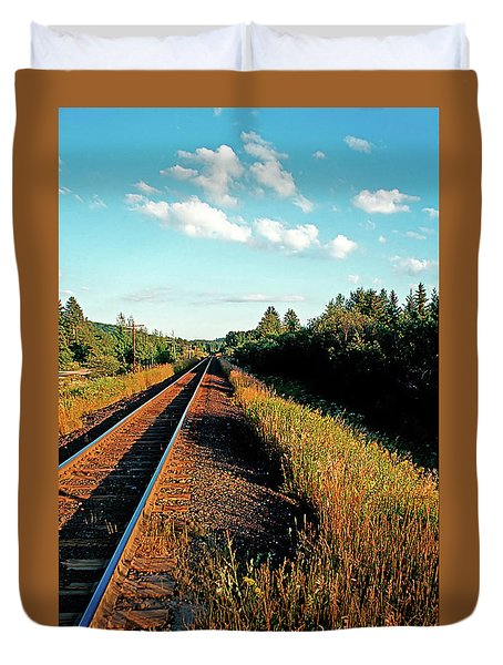 Rural Country Side Train Tracks Duvet Cover