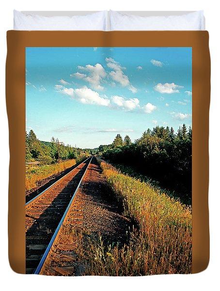 Rural Country Side Train Tracks Duvet Cover