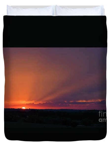 Duvet Cover featuring the photograph Rural Kansas Sunset by Mark McReynolds