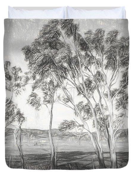 Rural Landscape Pencil Sketch Duvet Cover