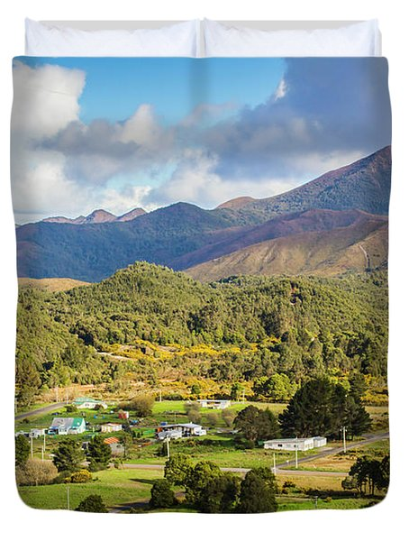 Rural Landscape With Mountains And Valley Village Duvet Cover
