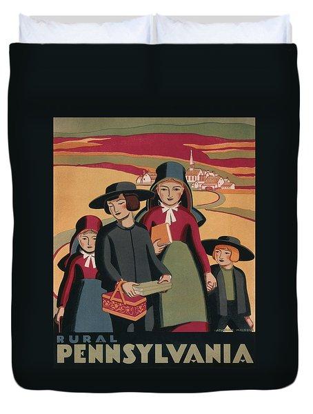 Rural Pennsylvania - Vintage Wpa Travel Duvet Cover