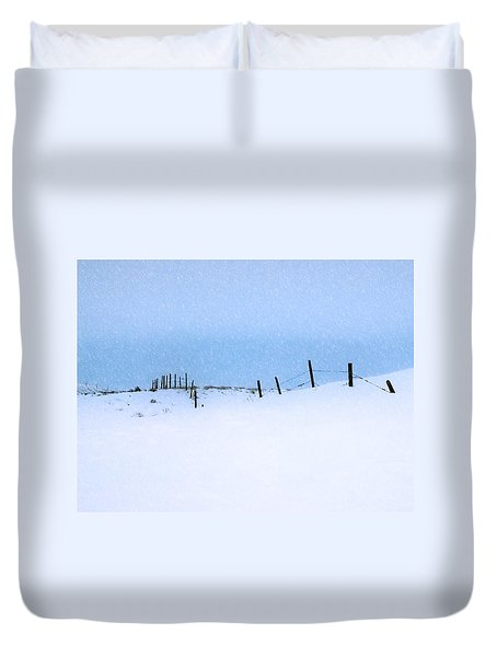 Rural Prairie Winter Landscape Duvet Cover