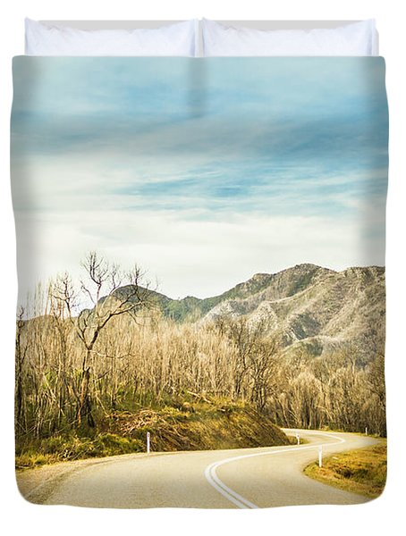 Rural Road To Australian Mountains Duvet Cover